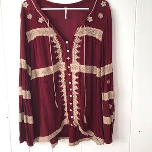 Free People Cranberry Boho Tunic